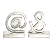 ABC Home Collection At and Ampersand Symbol Book Ends (Set of 2)