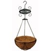 Basket 12 inch Metal Hanging Planter with Welcome Sign - Gardener Select Planters
