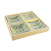 Aulica 4 Part Glass Bowl Decal Wooden Tray
