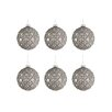 The Seasonal Aisle 6 Piece Ball Glitter Glass Ball Ornament Set (Set of 6)