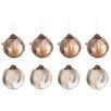 The Seasonal Aisle 8 Piece Feathers Glass Ball Ornament Set (Set of 8)
