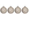 The Seasonal Aisle Checkered Rhinestone Glass Ball Ornament (Set of 4)