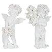 The Seasonal Aisle 2 Piece Angel Roses Figurine Set