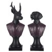 The Seasonal Aisle 2 Piece Bust Reindeer and Dog Figurine Set