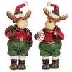 The Seasonal Aisle 2 Piece Reindeer Check Figurine Set