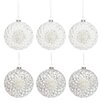The Seasonal Aisle 6 Piece Flat Lace and Sequins Glass Ball Ornament Set (Set of 6)