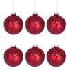 The Seasonal Aisle 6 Piece Glitter and Sequins Glass Ball Ornament Set (Set of 6)