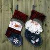 The Seasonal Aisle 2 Piece Velors Santa and Snow Man Stockings Set (Set of 2)