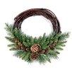 The Seasonal Aisle 25.4cm; PVC Pine and Grapevine Wreath