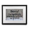 Pingo World 'Sorry! Lifestyle Ordered Is Out Of Stock' by Banksy Framed Textual Art