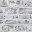 "Arthouse Whitewashed Wall White 33.5' x 22"" Brick Wallpaper"