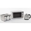 Igenix 20L 800 W Countertop Microwave with Kettle and 4 Slice Toaster in Brushed Stainless Steel