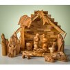 Earthwood LLC Olive Wood Stable with Modern Nativity Figurine Set