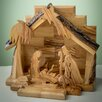 Earthwood LLC Olive Wood Nativity Set with Silhouette Figures