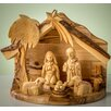 Earthwood LLC Olive Wood Nativity with Holy Family and Sheep Figurine