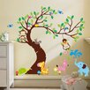RetailSource Curved Tree with Forest Friends and Monkeys Wall Decal