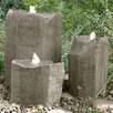 Glass Fiber Reinforced Concrete Basalt Rock Bird Bath Triple Pondless Fountain Kit - Liquid Art Fountains Indoor and Outdoor Fountains