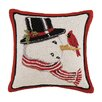 Mary Lake Thompson Snowman Hook Wool Throw Pillow