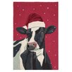 Scott Church Cow with Christmas Hat Handmade Red Area Rug