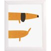 Fancy HuLi Hello and Goodbye Dog by Ivy Framed Graphic Art