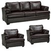 Coja Royal Cranberry Italian Leather Sofa and 2 Chair Set