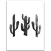 """Jetty Home 10"""" H x 8"""" W Cactus Graphic Art Print in Black and White"""