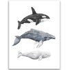 """Jetty Home 10"""" H x 8"""" W Whale Watercolor Trio Painting Print"""
