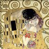 Tangletown Fine Art The Kiss by Gustav Klimt Framed Graphic Art on Wrapped Canvas