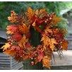 "Flora Decor Autumn 22"" Berry Leaf Wreath"