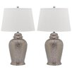 """Safavieh Metallica Ginger 27.75"""" H Table Lamp with Empire Shade (Set of 2)"""
