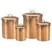 Old Dutch International Hammered 4 Piece Copper Canister Set