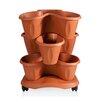 Trifoglio Resin Vertical Garden with Saucer - Color: Terracotta - Apollo Exports International Inc. Planters