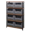 Quantum Storage Boltless Particle Board Shelf with 8 Giant Bins (Complete Package)