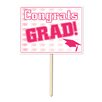 Graduation Congrat Grad Garden Sign (Set of 6) Color: Pink - The Beistle Company Garden Statues and Outdoor Accents