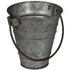 Proffitt Galvanized Tapered with Folding Handle Pot Planter - Size: 4.25 inch High x 4 inch Wide x 4 inch Deep - Gracie Oaks Planters