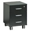 Bush Europe Black and White 3-Drawer Mobile Vertical Filing Cabinet