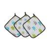 Bacati Elephants 3 Piece Muslin Wash Cloth Set