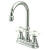 Elements of Design Madison Centerset Bar Faucet with Porcelain Cross Handles