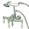 Elements of Design Vintage Three Handle Wall Mount Clawfoot Tub Faucet with Handshower