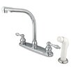 Elements of Design Victorian Double Handle Centerset High Arch Kitchen Faucet with Metal Lever Handles and White Side Spray