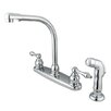 Elements of Design Victorian Double Handle Centerset High Arch Kitchen Faucet with Metal Lever Handles and Plastic Side Spray