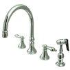 "Elements of Design 12"" Deck Mount Double Handle Widespread Kitchen Faucet with Metal Cross Handle"
