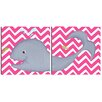 Doodlefish Sea Creatures Wendy Whale Diptych Canvas Art