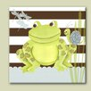 Doodlefish Nature Frog on Stripes Canvas Art