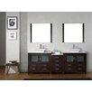 "Virtu Dior 91"" Double Bathroom Vanity Set with Mirror"