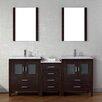 "Virtu Dior 74"" Double Bathroom Vanity Set with Mirror"