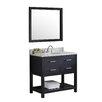 "Virtu Caroline Estate 36"" Single Bathroom Vanity Set with Carrara White Stone Top and Mirror"