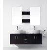 """Virtu Ultra Modern Series 59"""" Double Bathroom Vanity Set with Mirror"""
