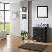 "Virtu Caroline Avenue 36"" Single Bathroom Vanity Set with White marble and Mirror"