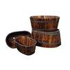 4-Piece Wood Barrel Planter Set - Finish: Burnt Brown - Shine Company Inc. Planters
